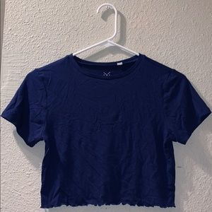 Pacsun Cropped Blue Short Sleeve Top